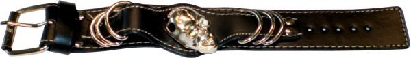 NAB 1825 - Nieten-Armband - Punk - Gothic - mit Tottenkopf + 6 Ringen