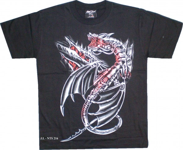 T-Shirt - Drache - mit Nieten - Glow in the dark