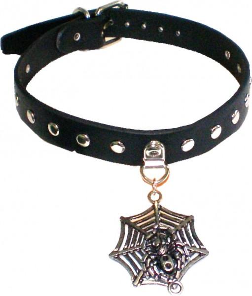 NHB 1388 - Nieten-Halsband - Nieten-Halskette mit 14 Nieten + Spinnennetz