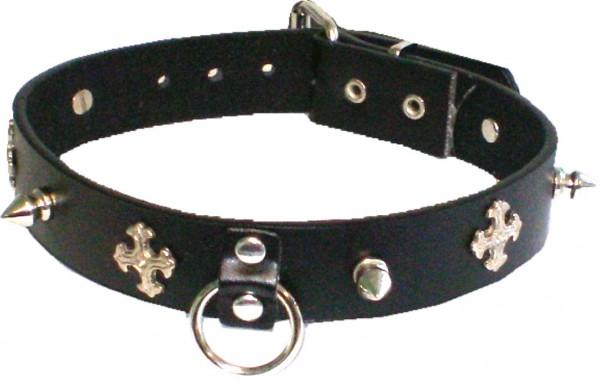 NHB 10 - Nieten-Halsband - Nieten-Halskette mit Killernieten + Kreuze