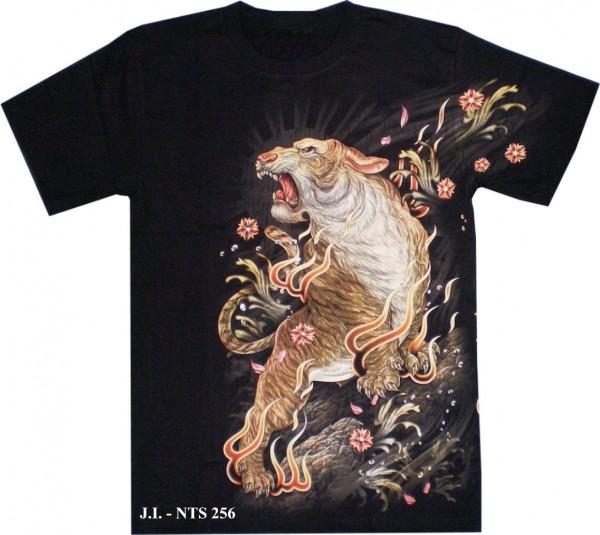 T-Shirt - Tiger + Drache - Glow in the dark mit Nieten