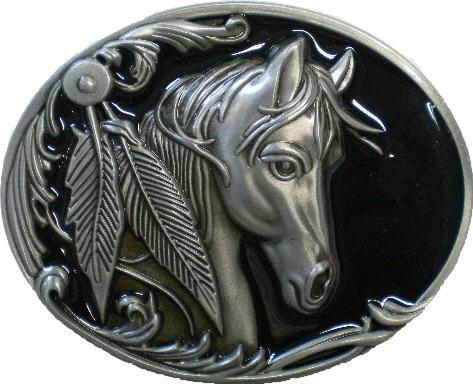 IQ 1466 - Gürtelschnalle Pferd mit Feder