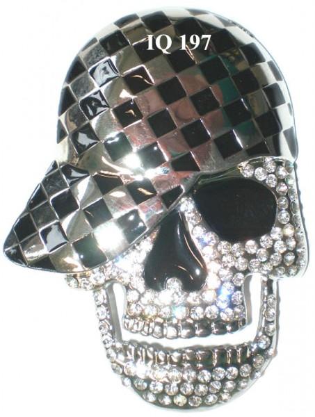 IQ 197 - Gürtelschnalle mit Strass - Totenkopf/Skull mit Cap
