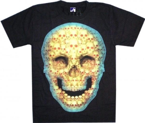 T-Shirt - leuchtender Totenkopf - Glow in the dark