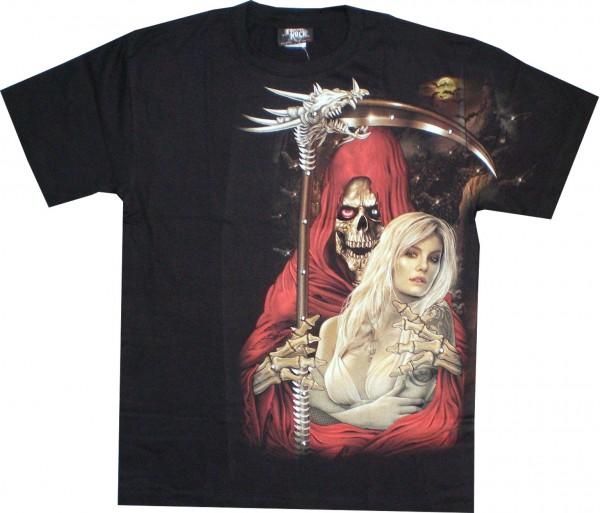 T-Shirt - Sensemann mit Frau - Glow in the dark mit Nieten