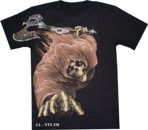 T-Shirt - Totenkopf mit Beil - Skull - Glow in the dark mit Nieten