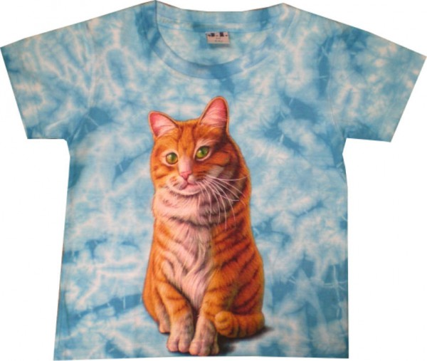 Kinder T-Shirt in Batik mit Katze