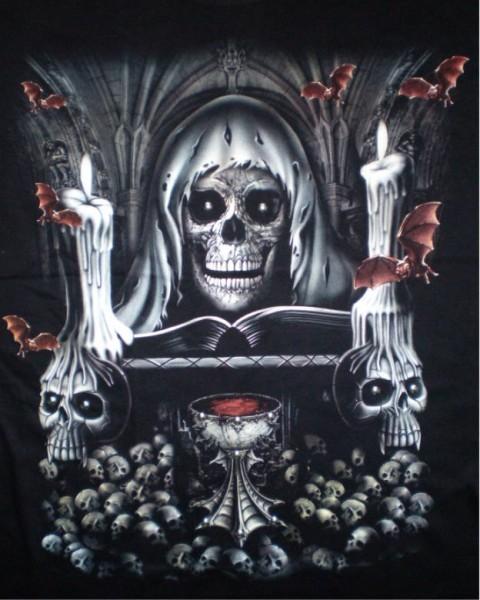 T-Shirt - Pirat mit Spinne - Glow in the dark mit Nieten