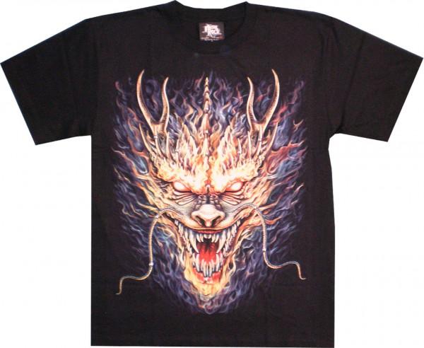 T-Shirt - Drache in Flammen - Glow in the dark mit Nieten