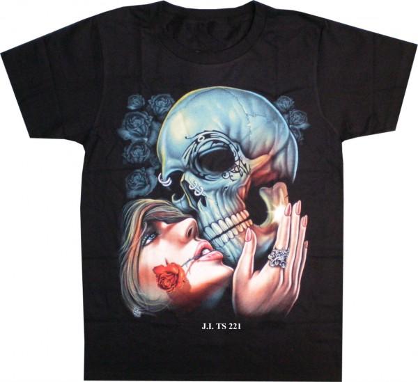 T-Shirt Skull mit Rosenfrau