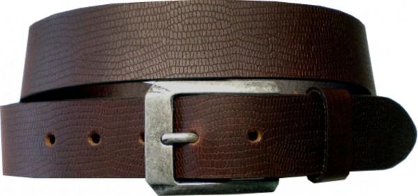 ILC759 - 4 cm breiter Ledergürtel in Schlangenoptik - dunkelbraun mit silberner Antikschnalle