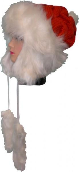 Mütze, Wintermütze, Strickmütze mit Zopfmuster, Kunstfell, mit Fleece gefüttert