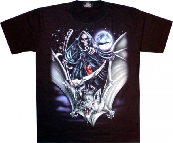 T-Shirt - Skull auf Fledermaus - Glow in the dark mit Nieten