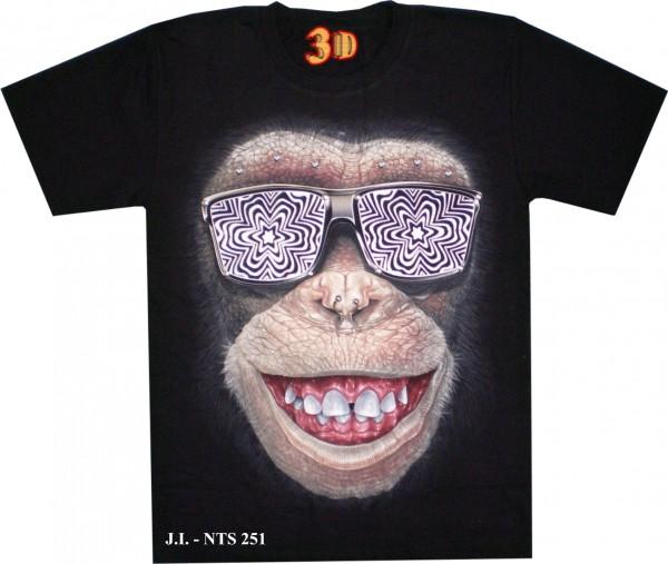 T-Shirt - Affe - Monkey - Glow in the dark mit Nieten + Nasen-Piercing