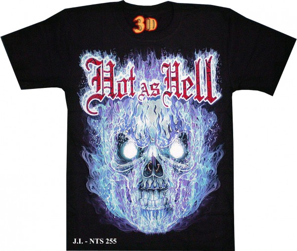 T Shirt Totenkopf Skull In Flammen Hot As Hell Glow In The