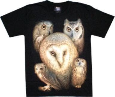 T-Shirt - Eulen - Glow in the dark