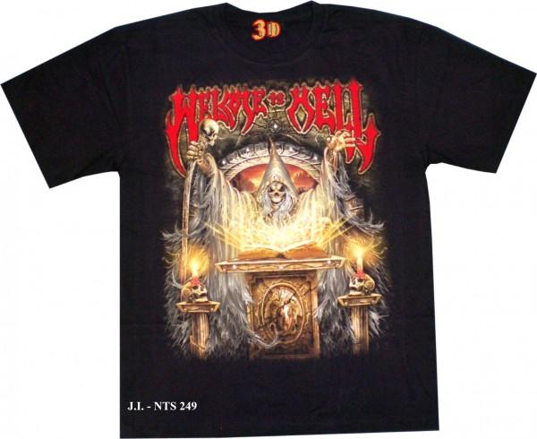 T-Shirt - Totenkopf - Skull - welcome to hell - Glow in the dark mit Nieten