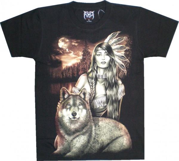 T-Shirt mit Indianerin und Wolf