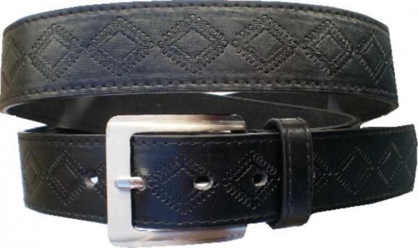 KGL 2136 - Gürtel / Kunstledergürtel / PU-Gürtel gemustert in 3,2 cm, schwarz