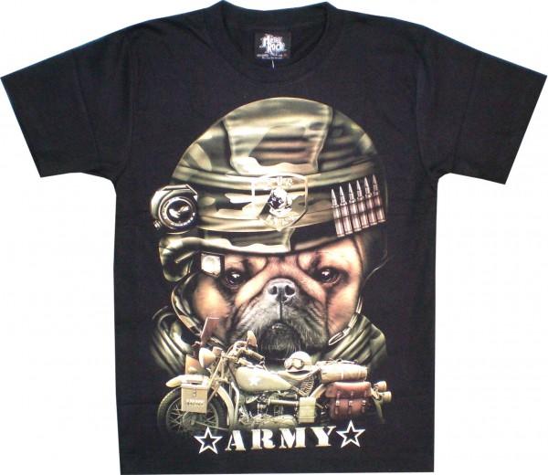T-Shirt - Army dog + bike - Glow in the dark