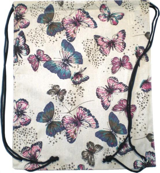 IQ1770.5 Stoffbeutel, Turnbeutel, Sportbeutel - Motiv Schmetterlinge