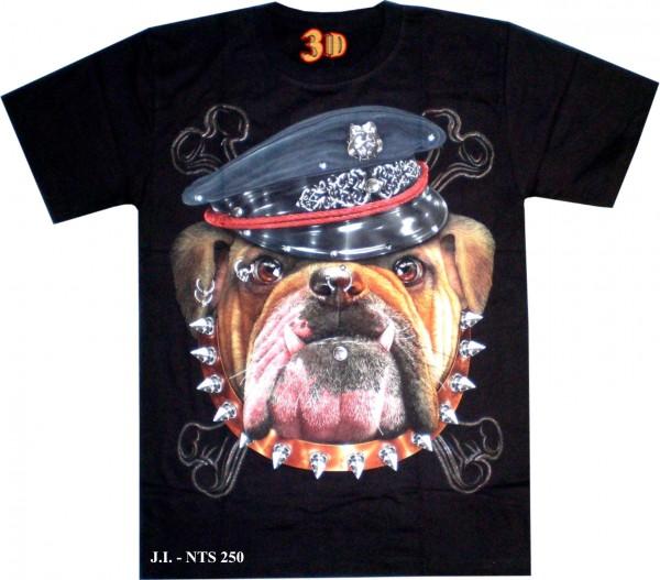 T-Shirt - Hund - Bulldogge mit Nietenhalsband - 3D Glow in the dark mit Nieten