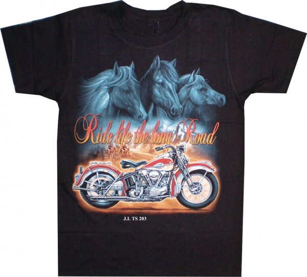 "T-Shirt Pferde & Bike ""ride life the long road"""
