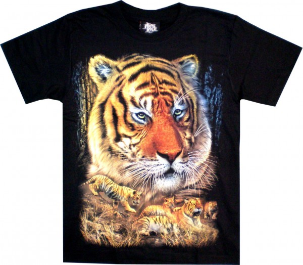 TS 110 - T-Shirt - Tiger - Tigerfamilie - beidseitig farbig bedruckt