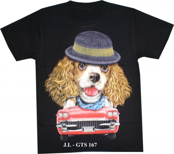 T-Shirt - Hund mit Oldtimer - Glow in the dark