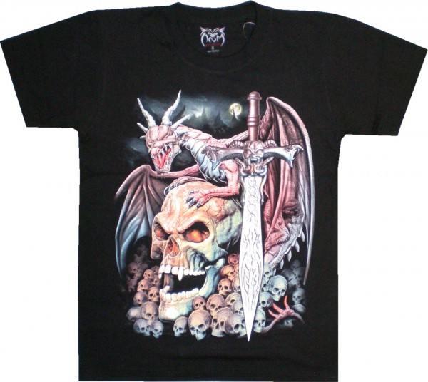 T-Shirt mit Skull, Drachen, Schwert