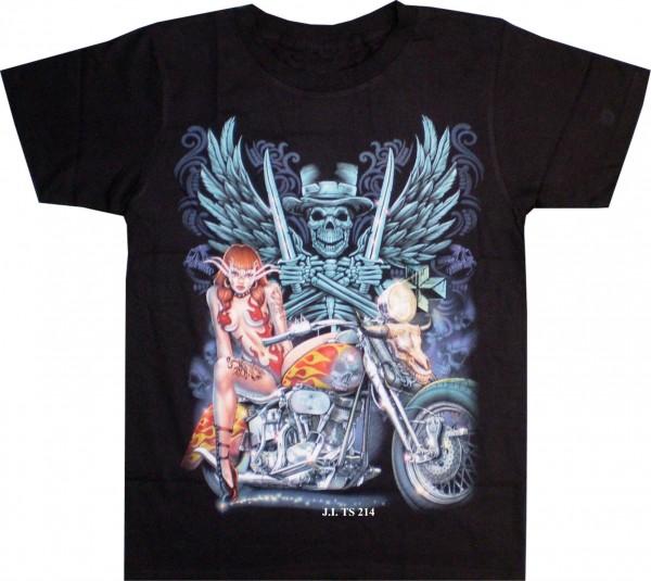 T-Shirt Skull, Bike + Beifahrerin