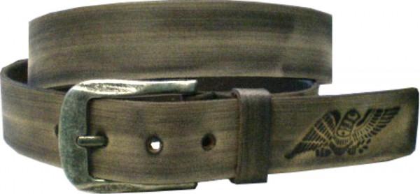 ILC729 - 4 cm breiter Ledergürtel - graue Wischtechnik mit 3 Adlern