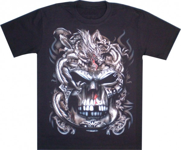 T-Shirt - Skull mit Drache - Glow in the dark