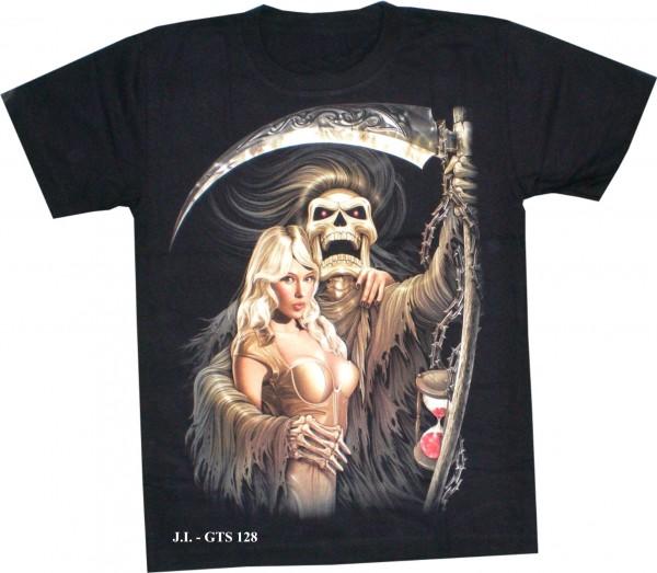 T-Shirt - Sensemann mit Frau - Glow in the dark