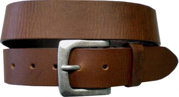 ILC758 - 4 cm breiter Ledergürtel in braun mit silberner Antikschnalle-Copy
