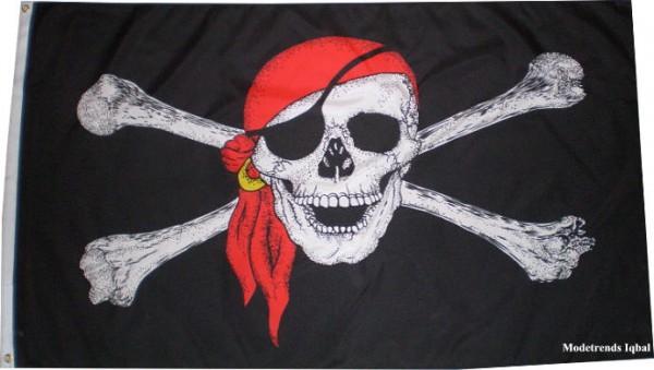 Stockfahne / Stockflagge Totenkopf / Pirat mit Zandana