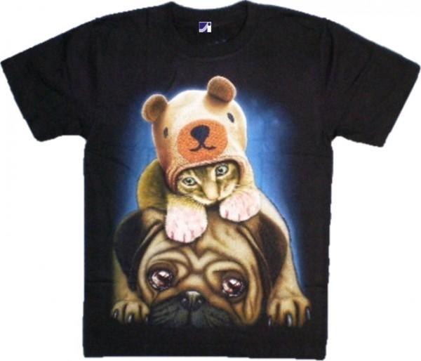 T-Shirt - Hund und Katze - Glow in the dark