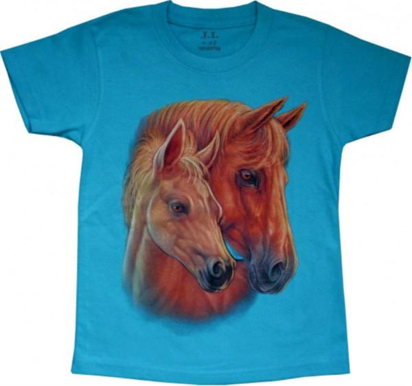 KTS 01e - Kinder T-Shirt mit Pferdeköpfen