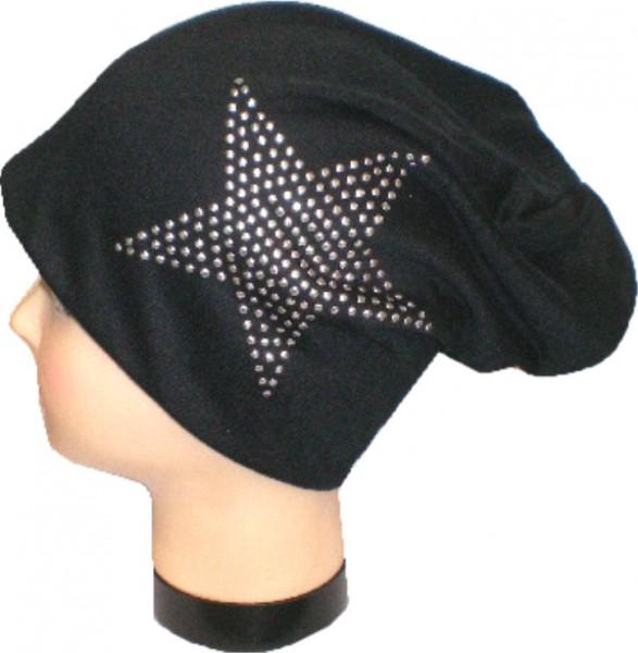 IQ1479 - Beanie - Slouch - Mütze mit einem Stern bedruckt für Damen und Herren