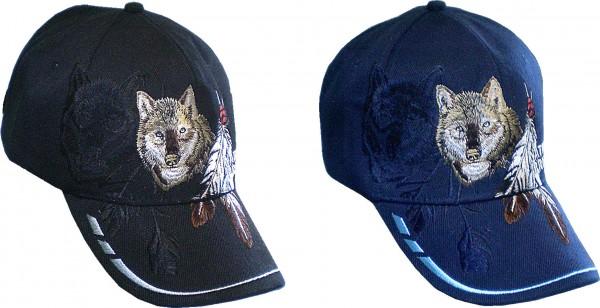 Cap IQ1829 - Cap mit Wolf und Ferdern bestickt