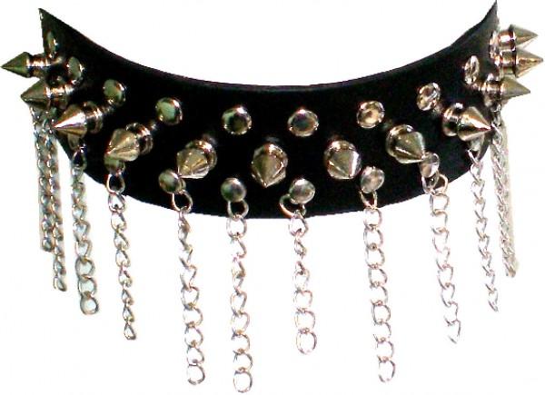 NHB 1387 - Nieten-Halsband - Nieten-Halskette mit Killernieten + Kettchen