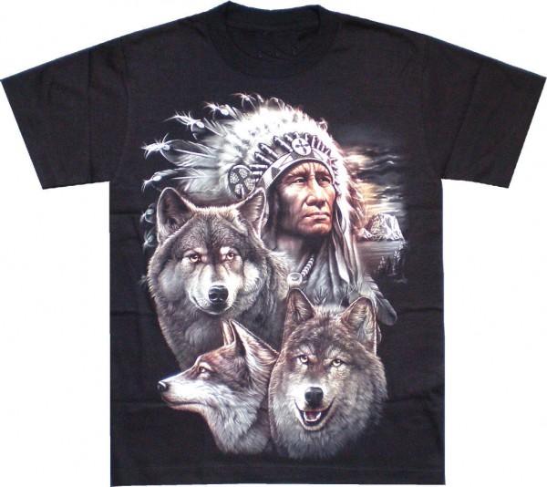 T-Shirt - Indianer mit Wölfen - beidseitig farbig bedruckt