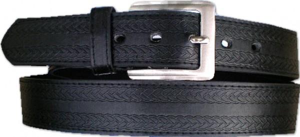 KGL 2114 - Gürtel / Kunstledergürtel / PU-Gürtel gemustert in 3,8 cm, schwarz